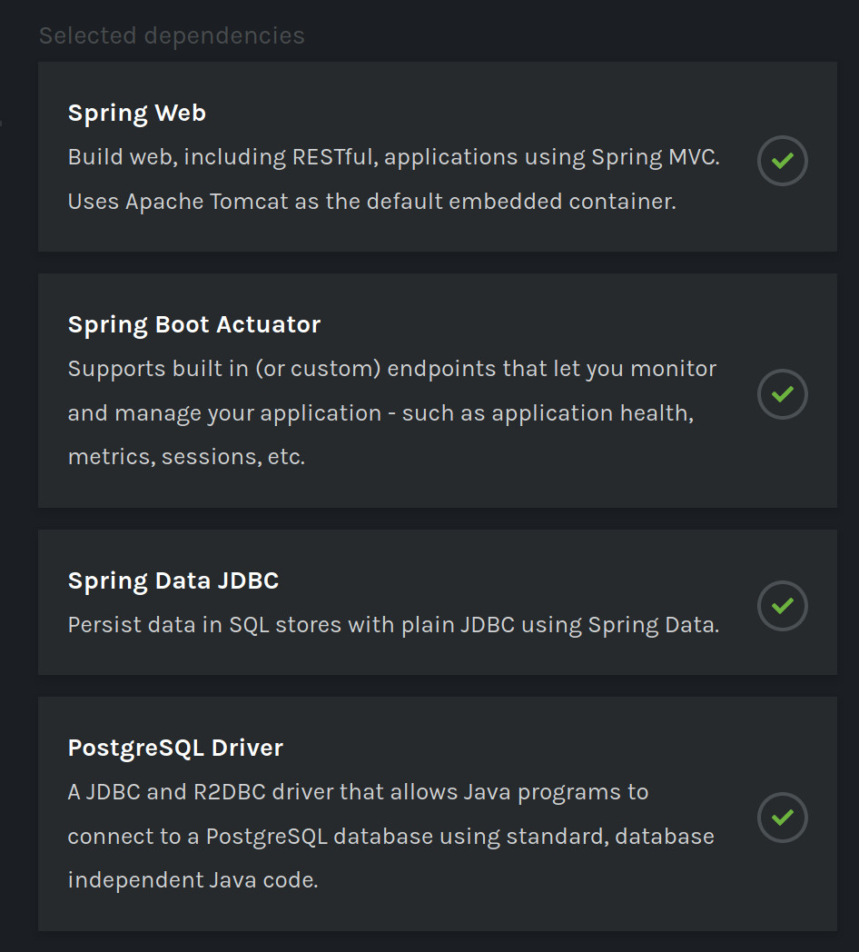 Spring Initializr dependencies